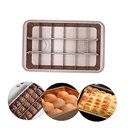 TongICheng Brownie Brownie estaño Antiadherente Bandeja Brownie Pan con divisores extraíbles Brownie Molde Cuadrado de la Torta Molde para Hornear el Pastel, 12.2 * 7.9 * 1.9in, Moho Cocina