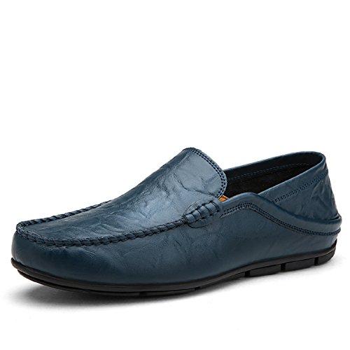 LILY999 Mocassini in Pelle Uomo Casual Eleganti Slip on Penny Loafers Scarpe da Guida Barca Nero Blu Marrone 38-46(Nero,45 EU)