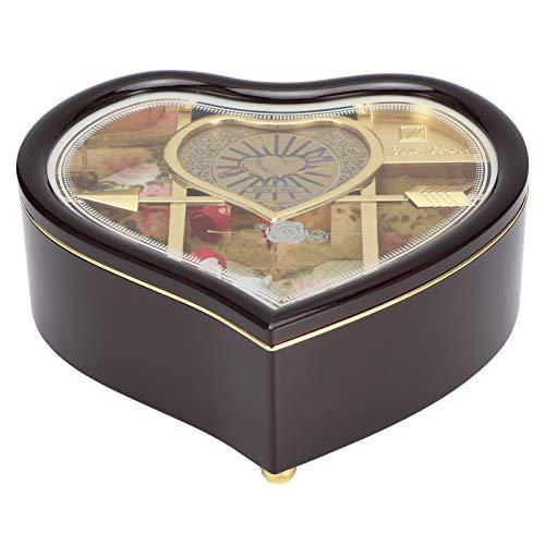 Cosiki Joyero Musical, Caja de Almacenamiento de Joyas, Adorno para el hogar, rotación Manual en Forma de corazón para Adultos de Navidad