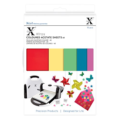Xcut Xtra Acetato de Hojas de Colores, Multicolor, A5, 15Unidades