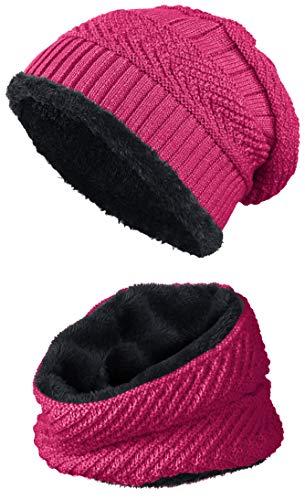 warm gefütterte Beanie + Schal mit Teddy-Fleece Fütterung mit Flechtmuster Wintermütze Einheitsgröße für Damen & Herren Mütze (4A) (Pink/Schwarz)