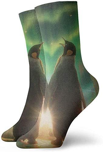 NA pinguïn liefde hart Antarctische Aurora Polaris licht nieuwigheid bemanning sokken atletische sokken kousen 30CM