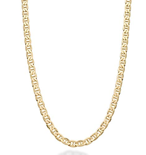 MiaBella Solid 18K Gold Over Sterling Silver Italian 3mm, 4mm, 6mm Diamond-Cut Flat Mariner Link Chain Necklace for Women Men, 16-30 Inch 925 Italy (20, 4mm)