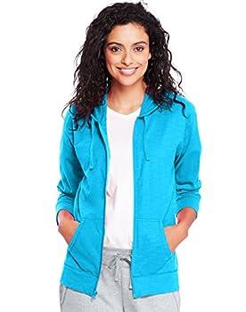 Hanes Women s Jersey Full Zip Hoodie Process Blue X-Large