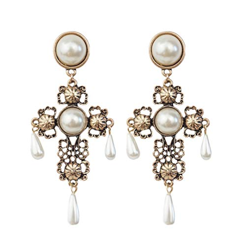 SALAN Gold Pearl Gothic Earrings For Women Hollow Long Vintage Statement Cross Drop Earring Elegant Vintage Jewelry Accessories