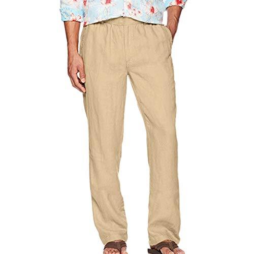 ღLILICATღ Pantalones Hombre Verano Casuales Moda Deportivos Mezcla de Algodón Pants Color sólido Jogging Pantalon Fitness Suelto Pantalones Largos Pantalones Ropa de Hombre
