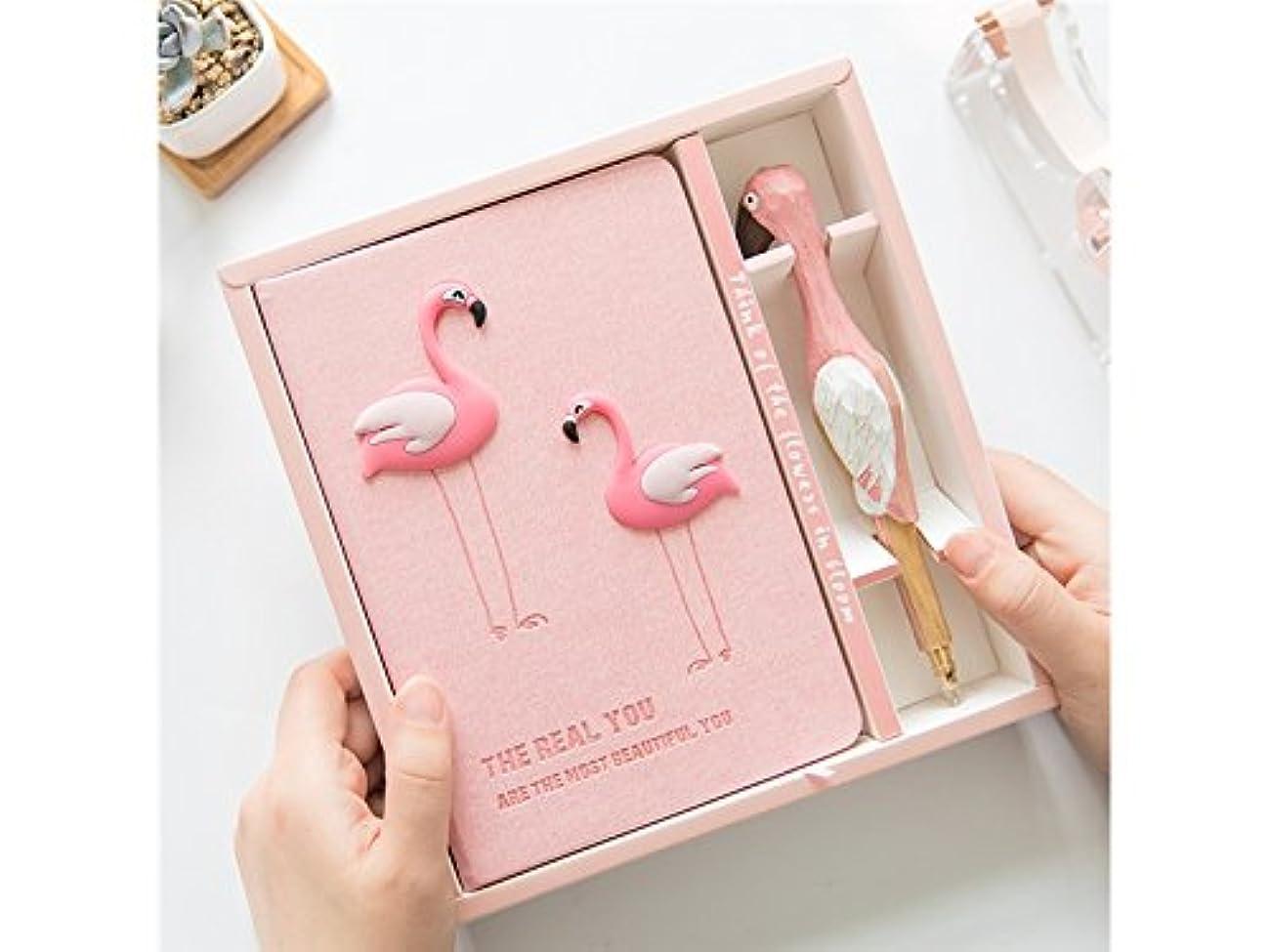 粘り強いつづり格納FenBuGu-JP 漫画フラミンゴノートブックハンディノートノートブックパーソナルダイアリーノート学校ノートとジャーナルペン付きペン書(ピンク)
