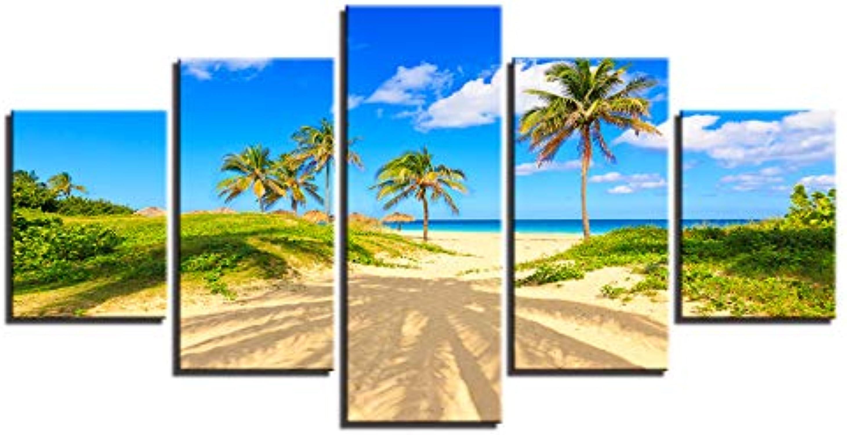 DLDSS Cuadros de la Parojo Decoración Arte Impresión en HD 5 Piezas Palmera Playa Sol Cielo Azul Nube blancoa Paisaje Marino Lienzo de Pintura Lienzo de Pintura