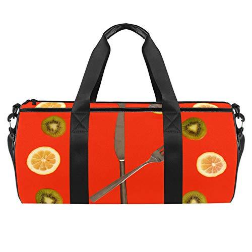 ASDFSD Seesack Turnbeutel für Herren Reise Sporttasche Outdoor Klein Seesack Uhr aus Kiwi Limette Zitronenscheiben