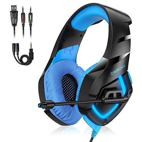 K1B游戏耳机带LED灯游戏耳机带麦克风可旋转3,5 mm带USB线可拆卸亭可兼容PC / PS4 / Xbox One /智能手机/ Nintendo Switch 2.2metri线(蓝色)