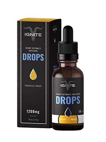 Ignite - Tropical Fruit Hemp Oil Extract Drops - Calming and Recharging - 1200mg