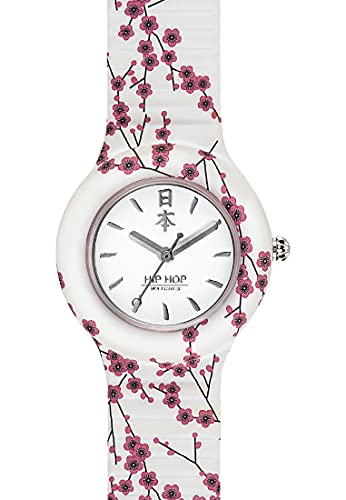 HIP HOP Ladys' I LOVE JAPAN WATCH Collection MONO-COLOUR WHITE dial 3 Hands QUARTZ movement and SILICON PRINTED WHITE STRAP HWU0864