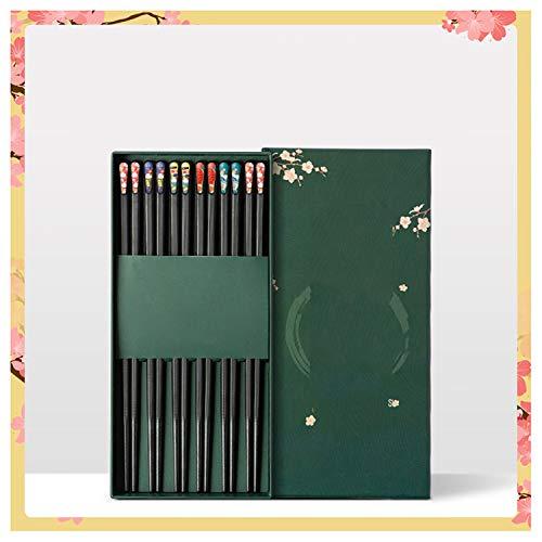 KSGH 6 pares de palillos japoneses de fibra de vidrio caja de regalo, reutilizables antideslizantes para arroz de fideos sushi, palillos clásicos de aleación A