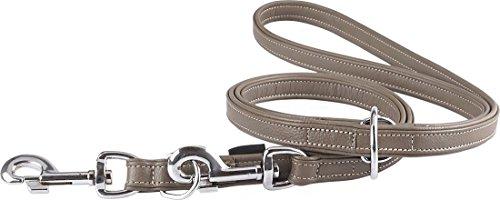 Knuffelwuff Glendale Hundeleine, Leder, verstellbar, Länge 200 cm, Breite 20 mm, Braun