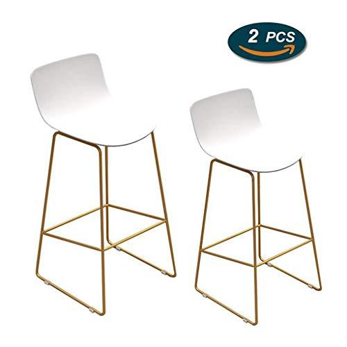 XQAQX Tabouret eetkamerstoel zonder armleuningen met metalen poten, goudkleurig, zitvlak van kunststof, PP, voor de keuken, voor inbouw