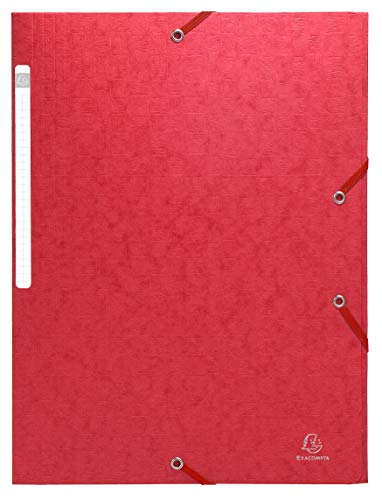 Exacompta 55755E Sammelmappe mit Gummizug und 3 Klappen aus Manila Karton für Format DIN A4, 355 g, 24 x 32 cm, rot