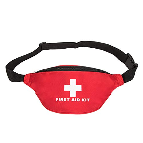 Jipemtra First Aid Fanny Pack First Aid Bag Red Travel Rescue Bag Empty Pouch First Responder Storage Compact Survival Medicine Bag Pocket Container for Car Home Ourdoors (Red Fanny Pack)