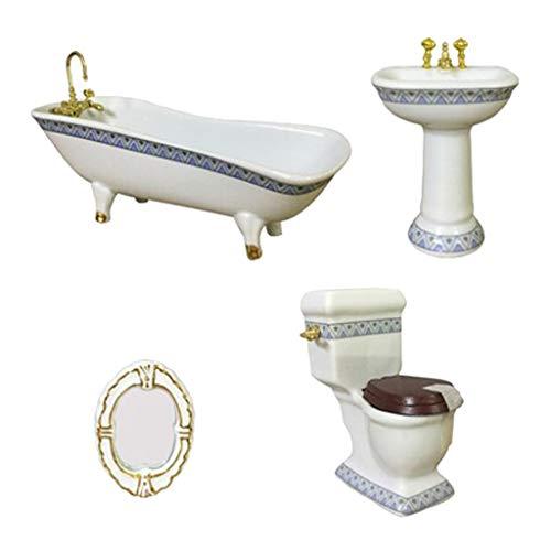 Toygogo Muebles De Casa De Muñecas Miniatura Accesorios De Baño Set 4PCS-1: Escala 12