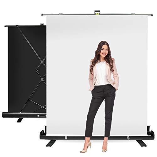 JS JULIUS STUDIO 5 ft.(W) x 6 ft.(H) White Screen - Collapsible, Retractable...