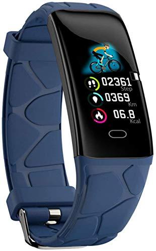 Pulsera inteligente con frecuencia cardíaca, detección de oxígeno en sangre, reloj inteligente, podómetro, información Bluetooth, pulsera inteligente (color: blanco)-azul