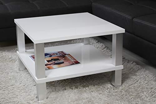 Moderner Couchtisch mit Ablage weiß Hochglanz - perfekt geeignet als Sofatisch für Ihr Wohnzimmer - 65 x 65 x 50 cm