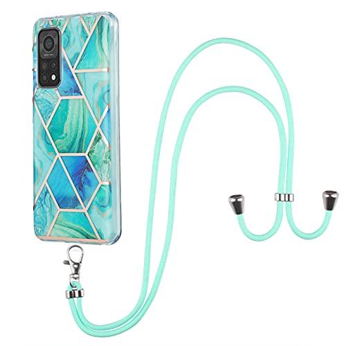 Shazikaihui Funda Compatible Con Xiaomi Mi 10T Suave Silicona mármol TPU con Cuerda para Colgar Case para Xiaomi Mi 10T Protectora ponible Carcasa con Lanyard/Collar (verde)
