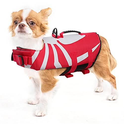 PUMYPOREITY Giubbotto Salvagente per Cani Giacca di Salvataggio Protettivo Gilet Salvagente con Fissaggio Regolabile e Manico per Cani di Taglia Picco