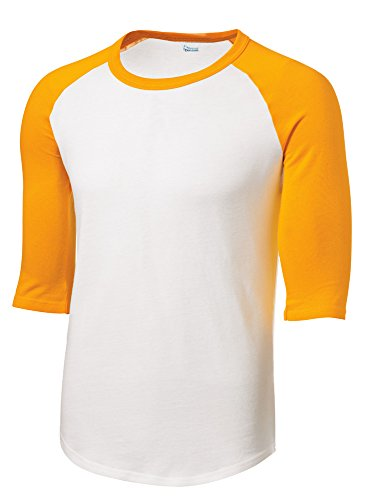Mens or Youth 3/4 Sleeve 100% Cotton Baseball Tee Shirts Youth S to Adult 4X WH/GLD-XXL White/Gold