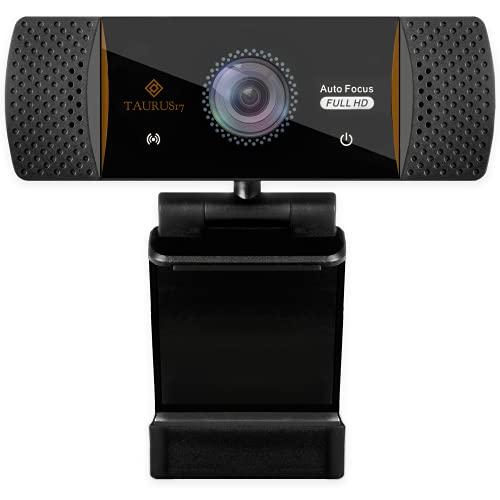TAURUS17- Webcam per pc, 2021, con Auto Focus, microfono stereo, USB 2.0 Full HD 1080P 30 FPS, OMAGGIO treppiedi e adattatore USB-C, telecamera pc per videochiamate, live per Windows e Mac