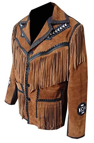 Classyak Western Fringes & Beads - Chaqueta de piel para hombre