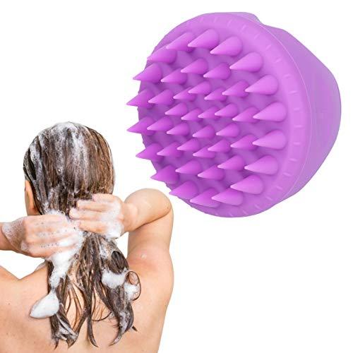 Masajeador de cuero cabelludo multifuncional PP + Silicona Diseño de dientes Cepillo limpiador de cuero cabelludo Seguro para hombres Mujeres Niños Mascotas para lavar con champú Masajear(purple)