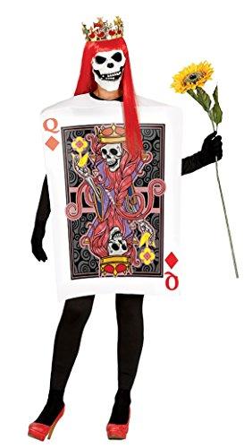 Halloween Skelett Kostüm Königin der Herzen-Poker-Karte