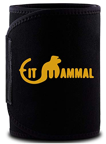 Fit Mammal Sweat Slim Belt- Sweat Belt for Men and Women- 1 Year Warranty- Fits Upto 46 Inches- New and Improved Black