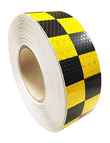 """PerfecTech 2""""x 118"""" Traffic Multi Color Grid Design Conspicuity Reflective Safety Warning Tape Film Stickers Stripe for Truck Car Motorcycle Guardrail Garage (Yellow-Black)"""