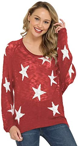 Pink Queen Womens Loose Long Raglan Sleeve V Neck Star Print Knitted Pullover Sweater M Coral product image