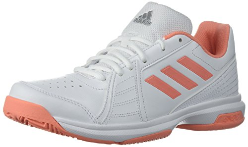 adidas Women's Aspire Tennis Shoe, White/Chalk Coral/Metallic Silver, 10.5 M US
