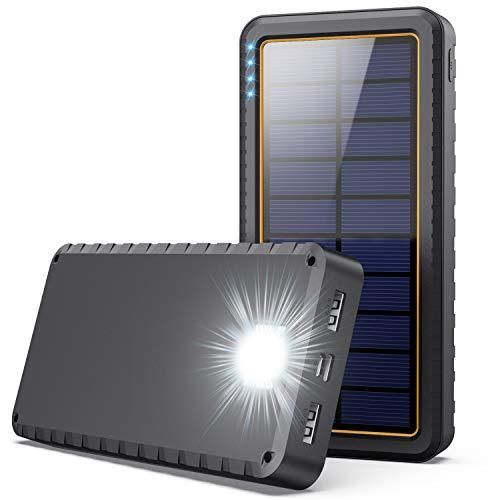 QTshine Power Bank Solare 26800mAh con Type C Ingressi,Caricabatterie Solare Portatile con LED Emergenza per Esterno attività,Batteria Esterna 2 Porte 3.1A Ricarica Rapida per Cellulare iPad Tablets