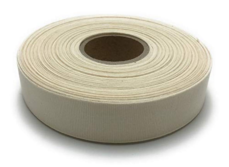 Combed Organic Cotton Grosgrain Ribbon, Raw White, 1 inch x 27.4 yd (25mm x 25m)