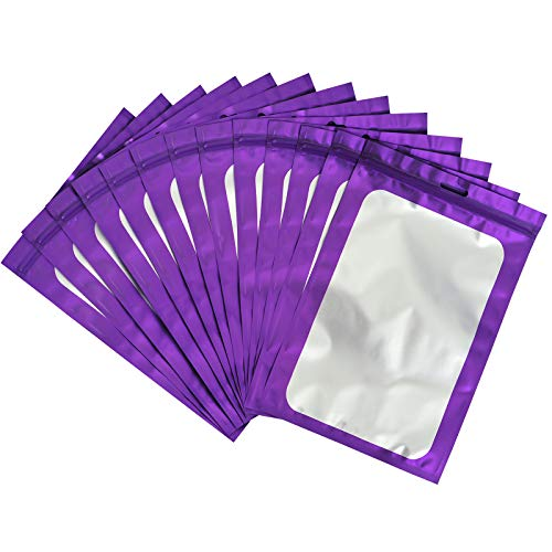 100-pack resealable mylar ziplock bags with front window Smell Proof bag packaging pouch bag for lip gloss eyelash cookies sample food jewelry electronics |flat|cute|(Purple, 2.75×3.93 inches)