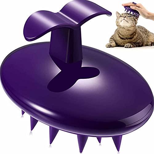 Cat Silicone Masaje CHEAS Pets Lavado de baño Cepillo de baño Limpieza de Perros Limpieza de Ducha Peine de champú con cerdas de Silicona Suave Removedor de Pelo para (púrpura)
