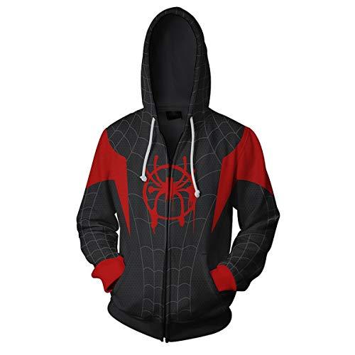 Sweat à Capuche Homme pour Déguisement de Spiderman Miles Morales, Halloween Cosplay Costume pour Into The Spider-Verse, 3D Imprinté Manches Longues (XL),Noir