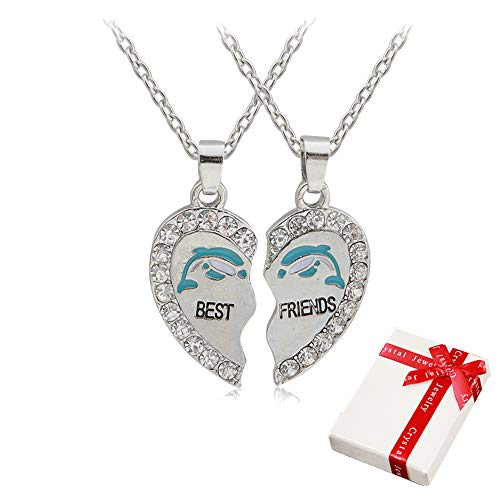 2 piezas Señoras Cadena colgante de plata con diamantes de imitación para la pareja, collares de la amistad del corazón Best Friends Dolphin, joyería de socio los mejores amigos, amante y regalos