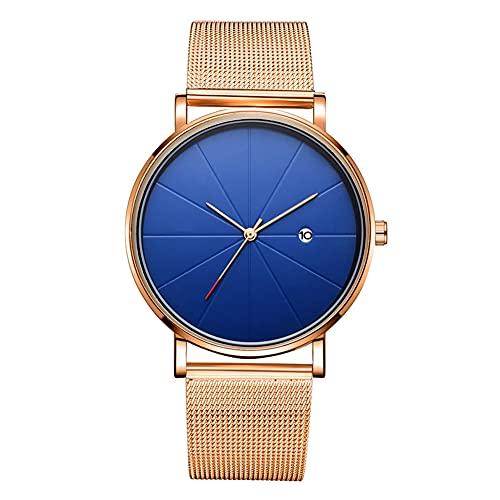 DSJSP Reloj de pulsera mecánico simple de cuarzo (correa de oro rosa caja de oro rosa esfera azul oro rosa mano)