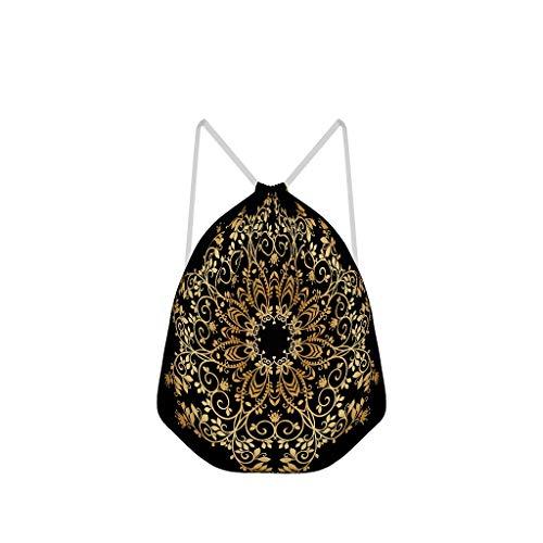 NC83 mandala tas met koordsluiting, vintage polyester, sport yoga voor mannen en vrouwen, 41 x 34 cm Eén maat wit