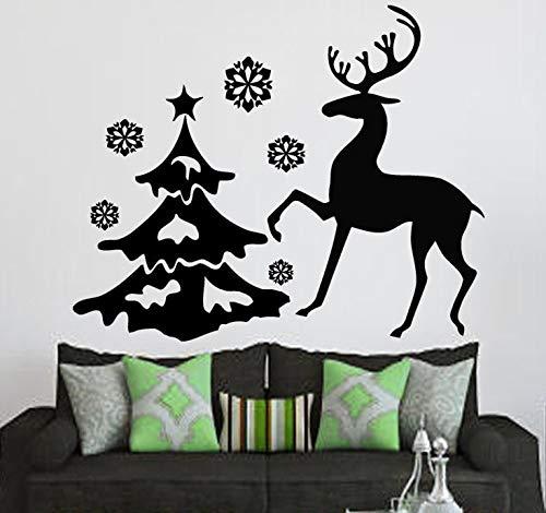 zxddzl Más Nuevo Reno de Navidad con el árbol Feliz Navidad Etiqueta de la Pared Inicio Salón Arte Festival Decorativo Mural Tatuajes de Pared CM 61x48cm