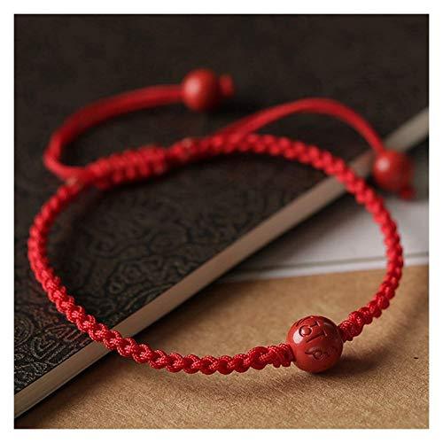 Feng shui riqueza prosperidad pulsera natural cinabrio seis caracteres mantra transferencia cuentas rojo cadena trenzado pulsera niños baby pulsera ajustable amuleto atrae la riqueza aleja del mal, ad