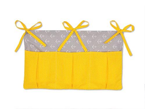 KraftKids Betttasche weiße Anker auf Grau weiße Punkte auf Gelb, Hänge-Ablage 50 x Höhe 30 cm, Bett-Organizer