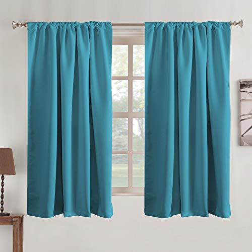 Window Treatments Drapes Teal Window Treatments Drapes Back Tab/Rod Pocket Blackout Curtain Panels Room Darkening Thermal Insulated Curtain 2 Panels, 52 x 63 Inches, Teal Blue