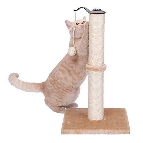 HAPPY HACHI Tiragraffi per Gatti in Sisal, Albero Tiragraffi con Pallone Rotante Imballaggio Completo Verticale Giocattolo Torre per Gatto con Base Stabile Semplice Montaggio Beige
