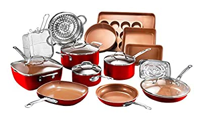 Gotham Steel Cookware + Bakeware Set with Nonstick Durable Ceramic Copper Coating – Includes Skillets, Stock Pots, Deep Square Fry Basket, Cookie Sheet and Baking Pans, 20 Piece, Red